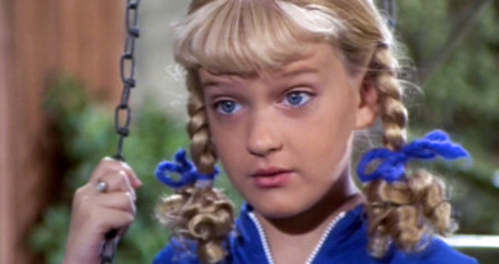 "LOS ANGELES - FEBRUARY 9: Susan Olsen as Cindy Brady in the BRADY BUNCH episode, ""The Subject Was Noses.""  Original air date, February 9, 1973. Image is a screen grab.  (Photo by CBS via Getty Images)"